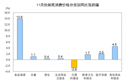 2019年11月CPI同比上涨4.5% 居住价格持平